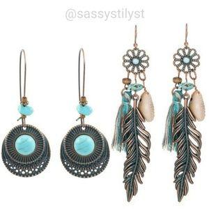 🆕️Boho lightweight turquios earring bundle